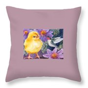 Baby Chick And Hummingbird Throw Pillow