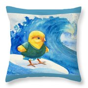 Baby Chick Surfing Throw Pillow