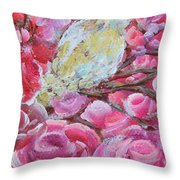 Baby Dove Of Peace Pink Flowers Throw Pillow