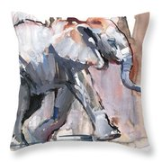 Baby Elephant, 2012 Mixed Media On Paper Throw Pillow