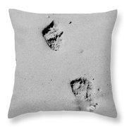 Baby Footprints On The Beach Throw Pillow
