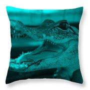 Baby Gator Turquoise Throw Pillow