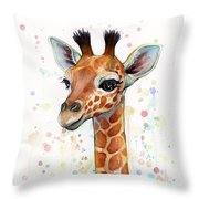 Baby Giraffe Watercolor  Throw Pillow