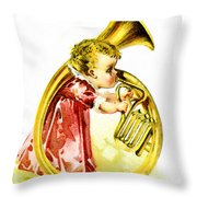 Baby Girl With A French Horn Throw Pillow
