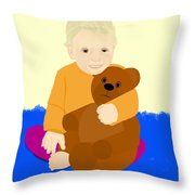 Baby Holding Teddy Bear Throw Pillow