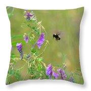 Baby Hummingbird Moth In Flight Throw Pillow
