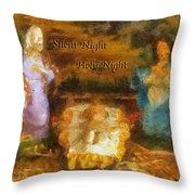 Baby Jesus Silent Night Photo Art Throw Pillow