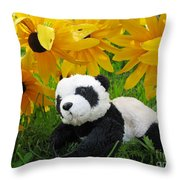 Baby Panda Under The Golden Sky Throw Pillow