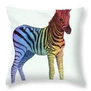 Baby Rainbow Zebra Throw Pillow
