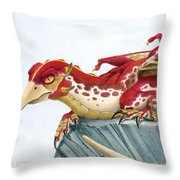 Baby Scarlet Spotted Dragon Throw Pillow