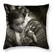 Baby With A Banana Throw Pillow