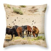 Bachelor Stallions And Birds Throw Pillow
