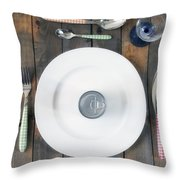 Bachelor's Dinner Throw Pillow by Joana Kruse