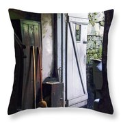 Back Door Of Shop Throw Pillow