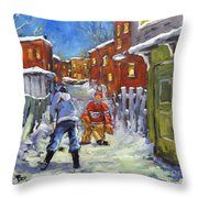 Back Lane Hockey Shoot Out By Prankearts Throw Pillow