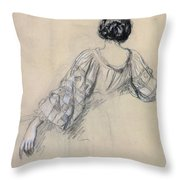 Back Of A Young Woman Throw Pillow