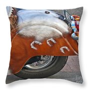 Back Of Indian Customized Motorcycle Throw Pillow