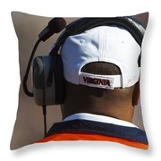 Back Of Mike London Head With Headset Virginia Cavaliers Throw Pillow by Jason O Watson