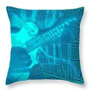 Back Porch Pickin' Pop Art In Blue Throw Pillow