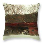Back Road Barn Throw Pillow