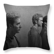 Back Stage With Nsync Bw Throw Pillow by David Dehner