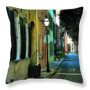 Back Street In Charleston Throw Pillow