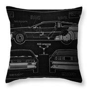 Back To The Future Delorean Blueprint 1 Throw Pillow