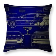 Back To The Future Delorean Blueprint 2 Throw Pillow