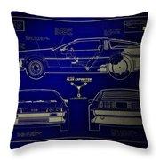 Back To The Future Delorean Blueprint 2 Throw Pillow