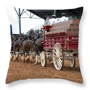Back View Anheuser Busch Clydesdales Pulling A Beer Wagon Usa Throw Pillow