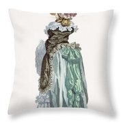 Back View Of A Promenade Gown, Engraved Throw Pillow