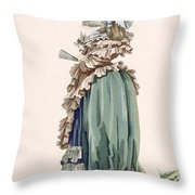 Back View Of Ladys Dress, Engraved Throw Pillow