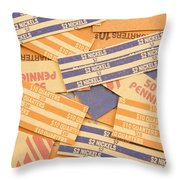 Background Of Empty Coin Rolls Throw Pillow
