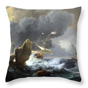 Backhuysen's Ships In Distress Off A Rocky Coast Throw Pillow