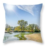 Backlighting River Landscape Throw Pillow