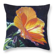 Backlit Hibiscus Throw Pillow