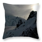 Backlit Skilift In Beautiful Landscape Throw Pillow