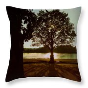 Backlit Tree Throw Pillow