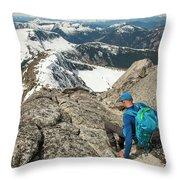 Backpacker Descending Needle Peak Throw Pillow