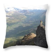 Backpackers Hike In Chugach State Park Throw Pillow