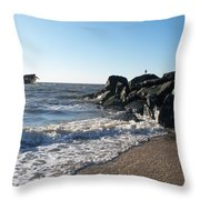 Backwash On Sunset Beach Cape May Throw Pillow