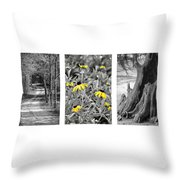 Backwoods Escape Triptych Throw Pillow