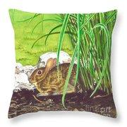 Backyard Bunny Throw Pillow
