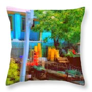 Backyard In Bright Colors Throw Pillow