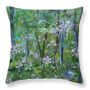 Backyard Mountain Laurel Throw Pillow