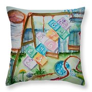 Backyard Play Simple Times Throw Pillow