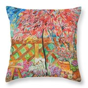 Backyard Summer Splendid Throw Pillow