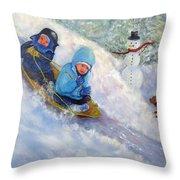 Backyard Winter Olympics Throw Pillow