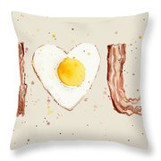 Bacon And Egg I Heart You Watercolor Throw Pillow