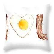 Bacon And Egg Love Throw Pillow